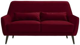 DREISITZER-SOFA in Textil Rot  - Rot/Schwarz, Trend, Holz/Textil (160/86/80cm) - Carryhome