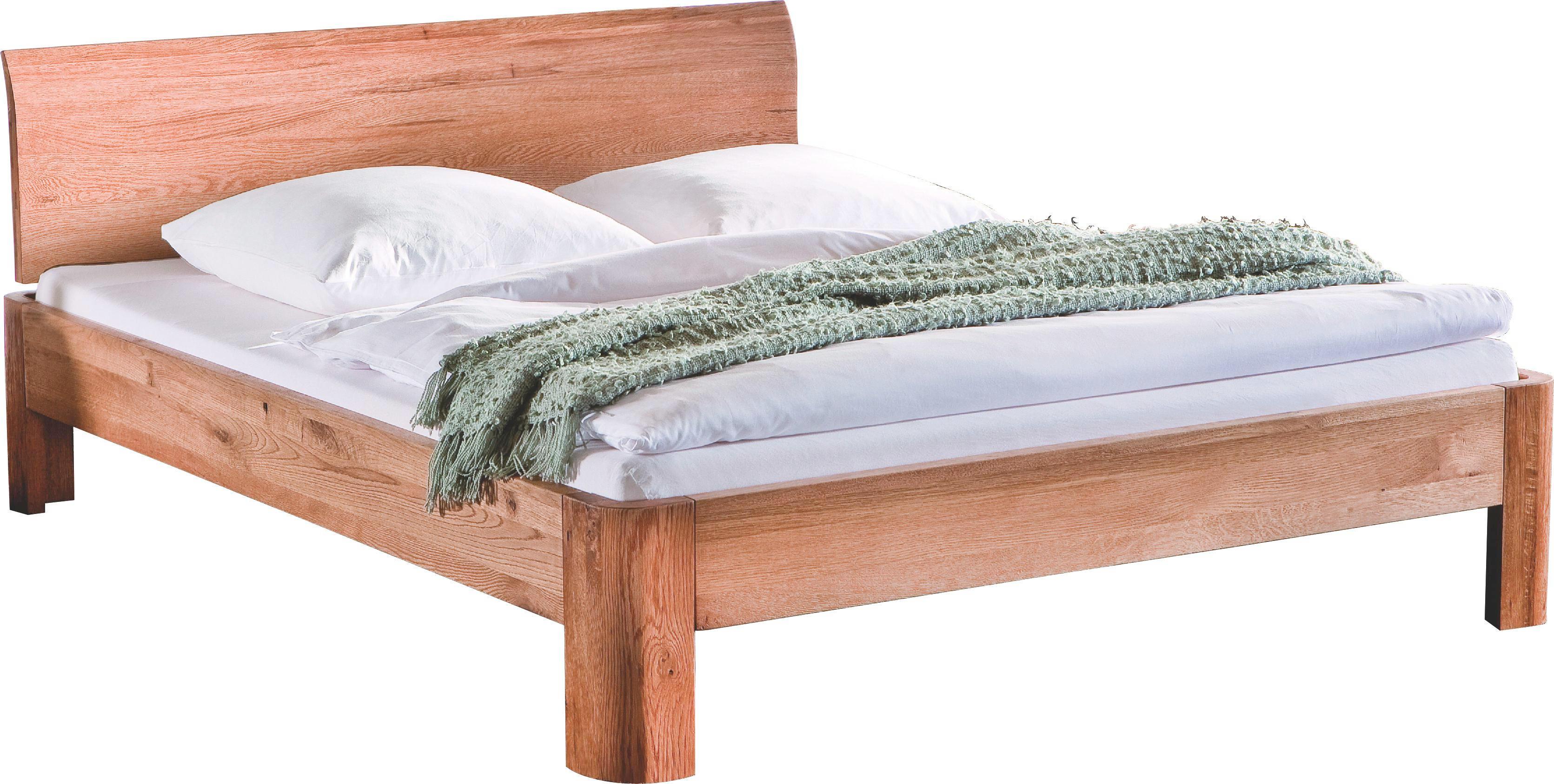 BETT Eiche massiv 140/200 cm - Eichefarben, Design, Holz (140/200cm) - HASENA