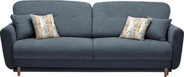 DREISITZER-SOFA Webstoff Dunkelblau - Multicolor/Dunkelblau, Design, Holz/Textil (235/87/98cm) - Hom`in