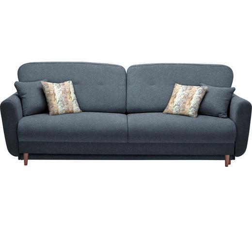 DREISITZER-SOFA in Textil Dunkelblau  - Multicolor/Dunkelblau, Design, Holz/Textil (235/87/98cm) - Hom`in