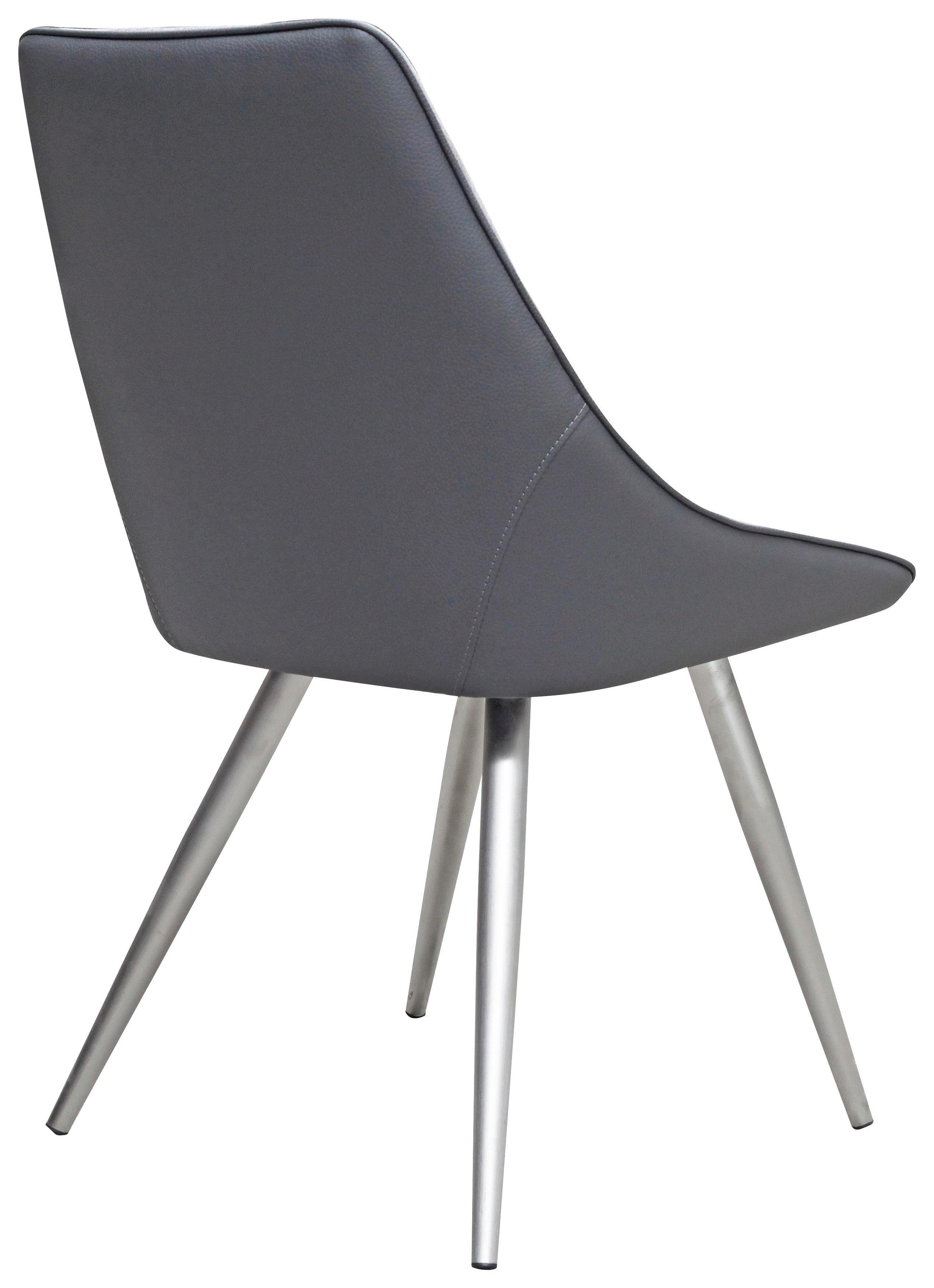STUHL Lederlook, Webstoff Chromfarben, Grau, Hellgrau - Chromfarben/Hellgrau, Design, Textil/Metall (53/86,5/64cm) - HOM`IN
