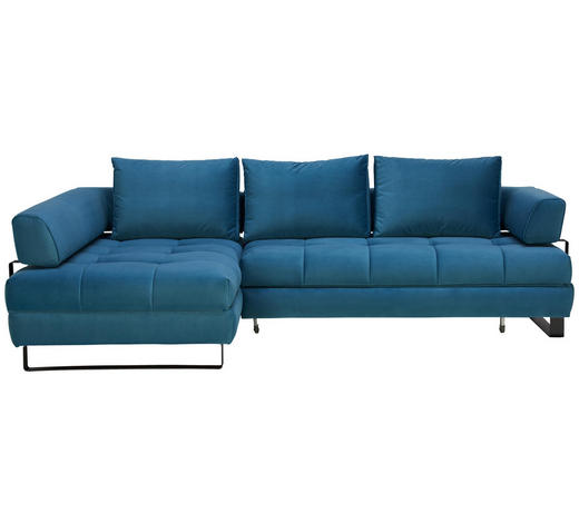 WOHNLANDSCHAFT in Textil Blau  - Blau/Schwarz, Design, Textil/Metall (173/272cm) - Stylife