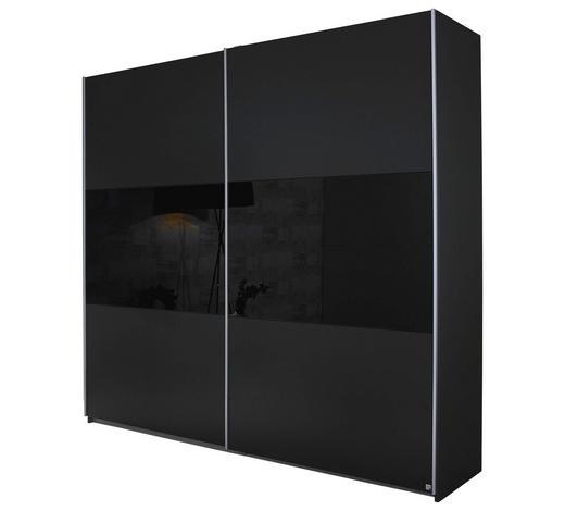 SCHWEBETÜRENSCHRANK 2-türig Grau, Schwarz  - Schwarz/Alufarben, Design, Glas/Holzwerkstoff (218/210/59cm) - Carryhome
