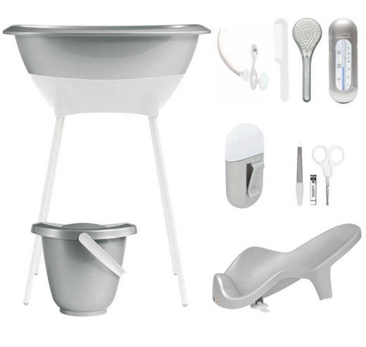Luma Bade- und Pflegeset - Silberfarben/Weiß, Basics, Kunststoff/Metall (79,5/40/46cm)