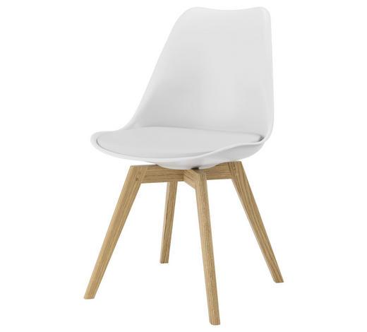 STUHL Lederlook Weiß, Eichefarben  - Eichefarben/Weiß, Design, Holz/Kunststoff (48,5/83/54cm) - Ambia Home