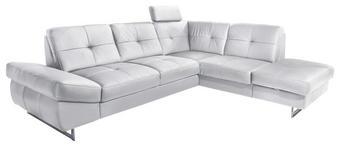 Ecksofa Lederlook Bettkasten, Schlaffunktion Weiß - Chromfarben/Weiß, KONVENTIONELL, Textil/Metall (278/88/220cm) - CARRYHOME