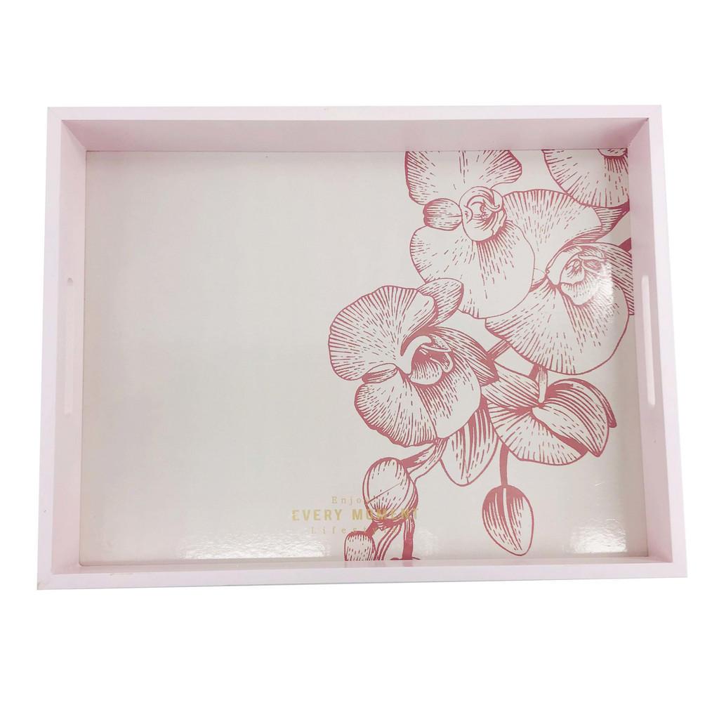 Image of Ambia Home DEKOTABLETT , Kb118-2020-02 , Rosa , Holzwerkstoff , Blume , 30x5 cm , lackiert,Nachbildung , handgemacht , 0031690688