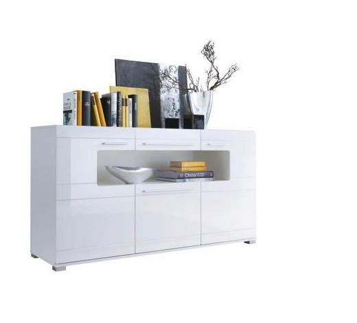 SIDEBOARD Hochglanz, Melamin Weiß  - Silberfarben/Weiß, Design, Holzwerkstoff/Kunststoff (150/82/44cm) - Carryhome