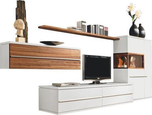 WOHNWAND furniert Nussbaumfarben, Weiß - Nussbaumfarben/Alufarben, Design, Glas/Holzwerkstoff (360/149/57cm) - Musterring