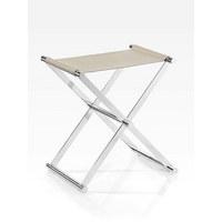 KLAPPHOCKER Beige, Chromfarben - Chromfarben/Beige, Design, Textil/Metall (34,5/45/45cm) - Joop!