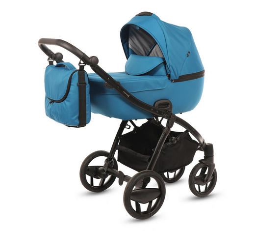 Piquetto Uni  Knorr-Baby Kinderwagenset  Petrol  - Petrol/Schwarz, Basics, Textil/Metall (60/107/110cm) - Knorr