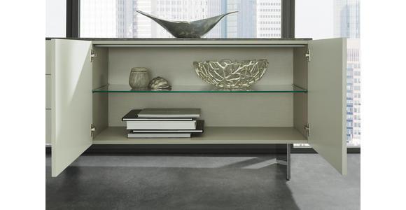 SIDEBOARD 210/77/48 cm - Edelstahlfarben/Dunkelgrau, Design, Glas/Holzwerkstoff (210/77/48cm) - Dieter Knoll