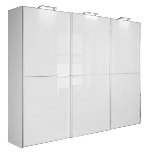 SCHWEBETÜRENSCHRANK 3  -türig Weiß - Chromfarben/Weiß, Design, Glas/Holzwerkstoff (249/222/68cm) - Moderano