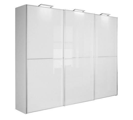 SCHWEBETÜRENSCHRANK 3-türig Weiß  - Chromfarben/Weiß, Design, Glas/Holzwerkstoff (249/222/68cm) - Moderano