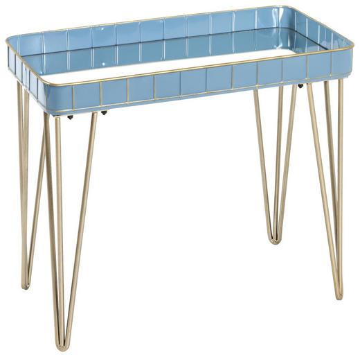 BEISTELLTISCH in Blau, Bronzefarben - Blau/Bronzefarben, LIFESTYLE, Glas/Metall (60/54/31cm)