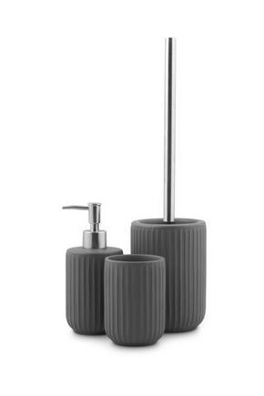 TOALETTBORSTSET - grå, Klassisk, plast/keramik