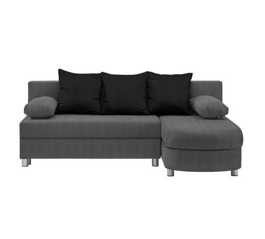 WOHNLANDSCHAFT in Textil Grau, Schwarz - Alufarben/Schwarz, KONVENTIONELL, Kunststoff/Textil (195/153cm) - Carryhome