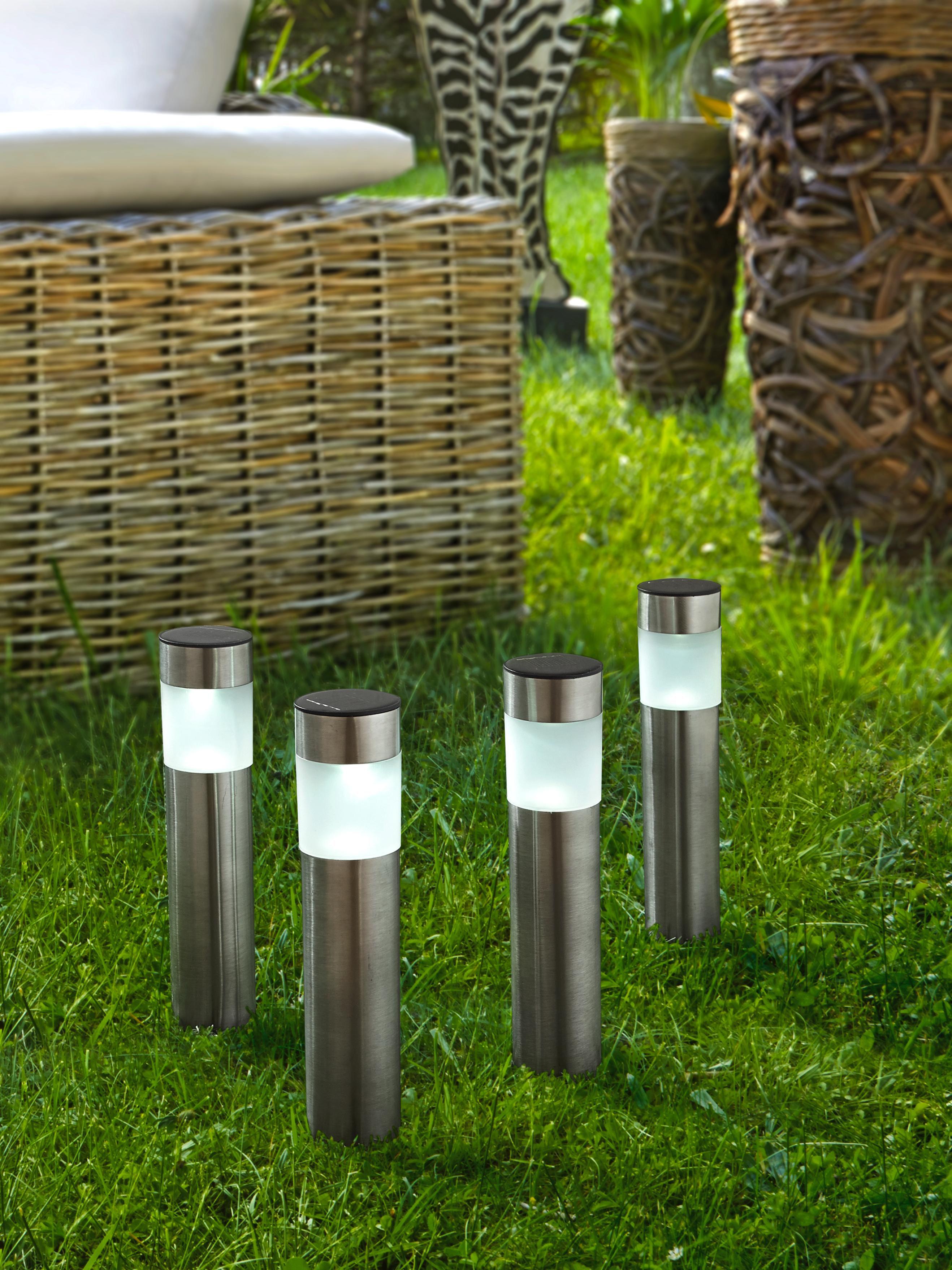 SOLCELLSLAMPA - rostfritt stål-färgad, Klassisk, metall/plast (6,5/6,5/38cm) - Boxxx