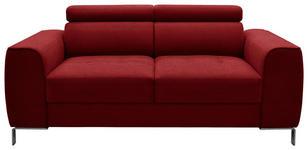 ZWEISITZER-SOFA Webstoff Rot - Chromfarben/Rot, Design, Textil/Metall (168/76-96/98cm) - Hom`in