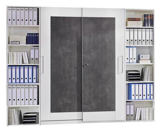 BÜRO Beimöbel erhältlich, erweiterbar Grau, Weiß - Weiß/Grau, Design (280/220,5/40cm) - Moderano