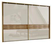 SCHWEBETÜRENSCHRANK in Eichefarben, Champagner  - Champagner/Eichefarben, KONVENTIONELL, Glas/Holz (250/217/67cm) - Dieter Knoll