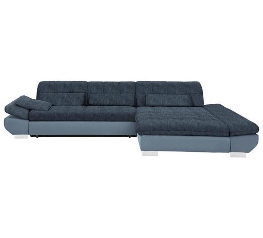 WOHNLANDSCHAFT in Textil Blau, Hellblau - Chromfarben/Blau, Design, Kunststoff/Textil (341/204cm) - Xora