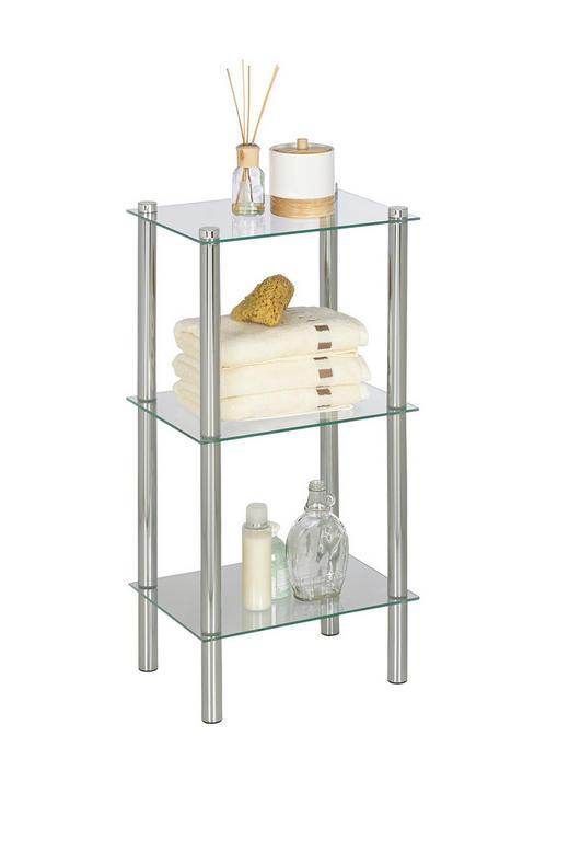 BADEZIMMERREGAL - Chromfarben/Klar, Design, Glas/Metall (38/75/28cm) - Xora