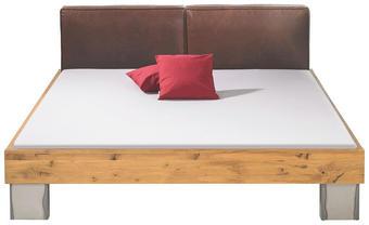 BETT Wildeiche 160/200 cm - Eichefarben/Braun, Design, Leder/Holz (160/200cm) - Hasena