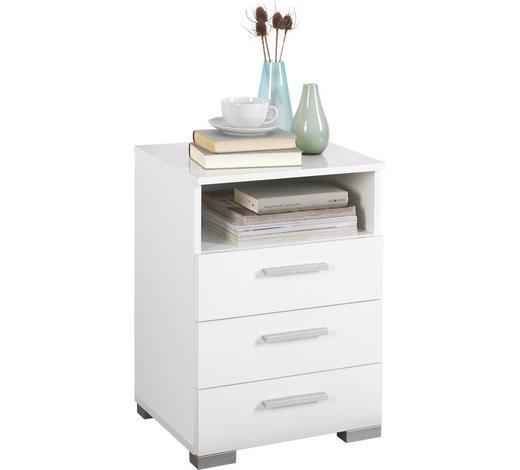 NOČNÍ STOLEK, bílá - bílá/barvy hliníku, Design, kompozitní dřevo/umělá hmota (45/62/35cm) - Carryhome