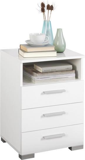 SÄNGBORD - vit/alufärgad, Design, träbaserade material/plast (45/62/35cm) - Carryhome
