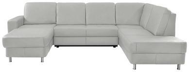 WOHNLANDSCHAFT in Leder Weiß - Chromfarben/Weiß, Design, Leder/Kunststoff (167/301/198cm) - Xora