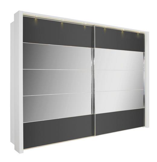 SCHWEBETÜRENSCHRANK 2  -türig Schwarz, Weiß - Chromfarben/Schwarz, Design, Glas/Holzwerkstoff (200/217/67cm) - VENDA