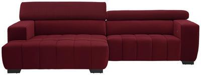 WOHNLANDSCHAFT in Textil Rot  - Rot/Schwarz, KONVENTIONELL, Textil/Metall (182/279cm) - Hom`in