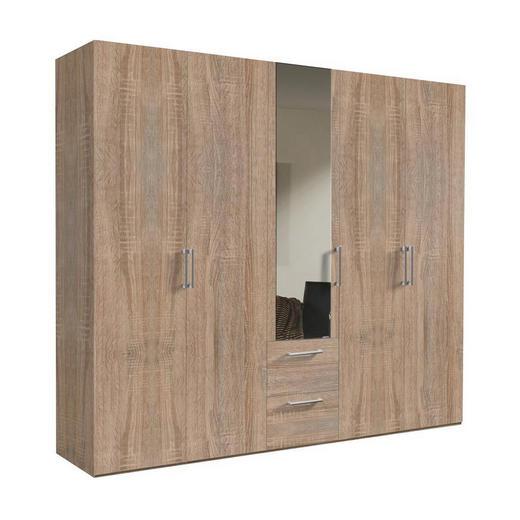 DREHTÜRENSCHRANK 5-türig Sonoma Eiche - Alufarben/Sonoma Eiche, KONVENTIONELL, Glas/Holzwerkstoff (250/216/58cm) - Hom`in