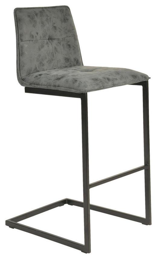 BARHOCKER Lederlook Greige, Schwarz - Greige/Schwarz, Design, Textil/Metall (46/99/54cm) - Hom`in