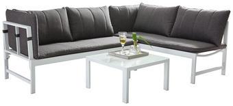 LOUNGEGARNITUR 10-teilig - Anthrazit/Weiß, Design, Glas/Textil (210/144cm)