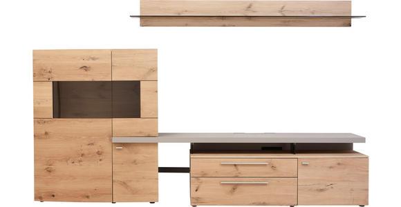 WOHNWAND in Eichefarben, Fango - Edelstahlfarben/Fango, Design, Glas/Holz (311,2/204,4/55,7cm) - Dieter Knoll