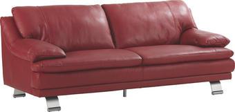 SEDEŽNI ELEMENT,  rdeča usnje - aluminij/rdeča, Konvencionalno, usnje (220/179/87/94cm) - Celina Home