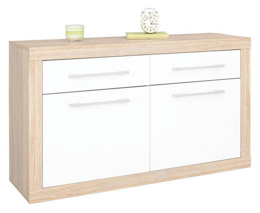 HÄNGESCHUHSCHRANK Eichefarben, Weiß - Eichefarben/Alufarben, Design, Holzwerkstoff/Kunststoff (120/70/36cm) - Boxxx