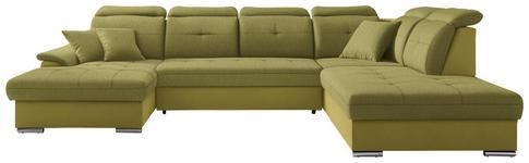WOHNLANDSCHAFT in Textil Limette  - Silberfarben/Limette, Design, Textil/Metall (187/365/263cm) - Cantus