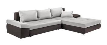 WOHNLANDSCHAFT in Textil Braun, Creme  - Creme/Schwarz, Design, Kunststoff/Textil (313/215cm) - Carryhome