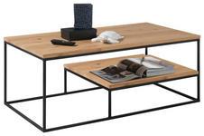 COUCHTISCH in Holz, Metall 110/60/42 cm   - Eichefarben/Schwarz, Design, Holz/Metall (110/60/42cm) - Hom`in