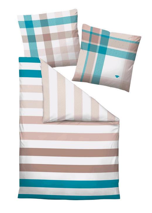 BETTWÄSCHE Satin Türkis, Weiß 200/200 cm - Türkis/Weiß, Design, Textil (200/200cm) - Tom Tailor