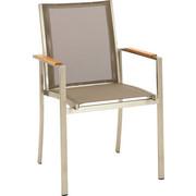 STAPELSESSEL - Taupe/Edelstahlfarben, Design, Holz/Textil (57/91/49cm)