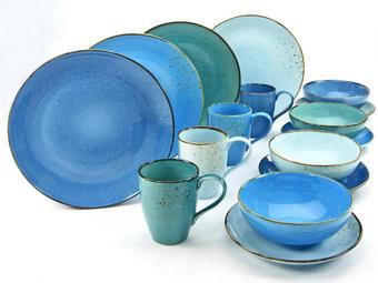 Steinzeug  KOMBISERVICE 16-teilig - Blau, Basics, Keramik