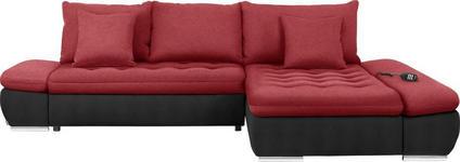 WOHNLANDSCHAFT in Textil Rot, Schwarz  - Chromfarben/Rot, Design, Textil/Metall (309/200cm) - Hom`in