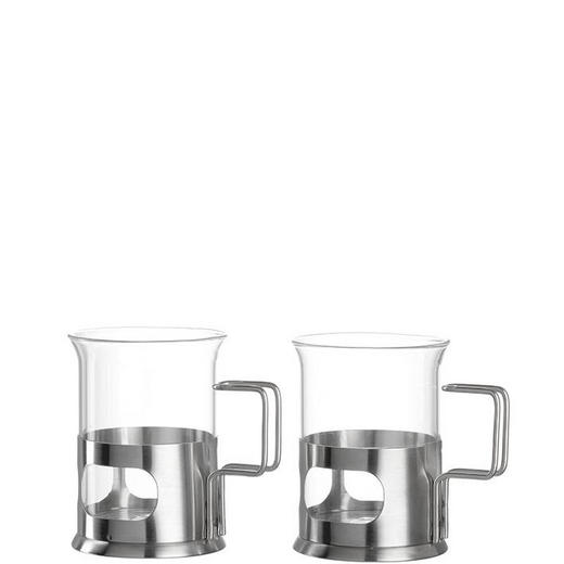TEEGLAS 2-teilig - Klar/Silberfarben, Basics, Glas/Metall (15,50/10,50/8,00cm) - Leonardo