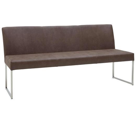 SITZBANK  in Braun, Edelstahlfarben - Edelstahlfarben/Braun, Design, Textil/Metall (180cm) - Dieter Knoll