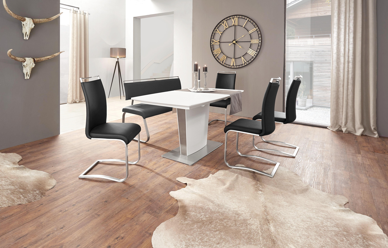MATBORD - vit/rostfritt stål-färgad, Design, metall/glas (160(210)/90/76cm) - Novel