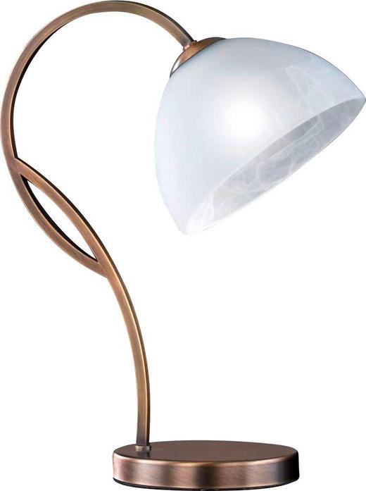 TISCHLEUCHTE - Messingfarben/Weiß, LIFESTYLE, Glas/Metall (37cm)